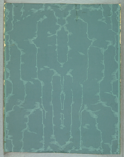 a) A sidewall of moire design, printed in shades of blue; b) a frieze paper, intended to be cut into two portions, with design of floral festoons and ribbons, printed in blues, grays and white on glazed blue ground.