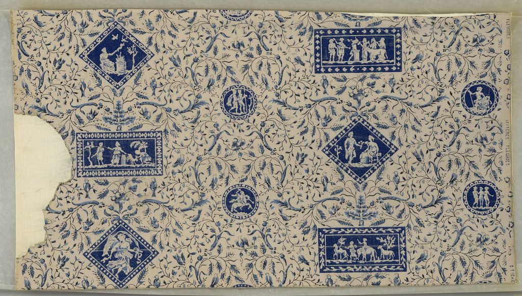"""Rectangles and diagonal squares are placed in alternating rows with smaller circular medallions between. Each medallion is filled with figures in classic garb similar to Wedgwood's Jasperware. Probably inspired from designs of Robert Adam. Each medallion is framed with an ornamental border. Fine floral scrolls cover the entire background. Tiny birds are perched on the twigs. Printed on margin: """"Lisieres Fleuries."""" Background is striped. Entire paper is embossed in fine parallel vertical lines."""