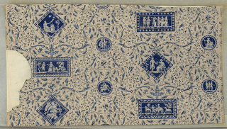 "Rectangles and diagonal squares are placed in alternating rows with smaller circular medallions between. Each medallion is filled with figures in classic garb similar to Wedgwood's Jasperware. Probably inspired from designs of Robert Adam. Each medallion is framed with an ornamental border. Fine floral scrolls cover the entire background. Tiny birds are perched on the twigs. Printed on margin: ""Lisieres Fleuries."" Background is striped. Entire paper is embossed in fine parallel vertical lines."