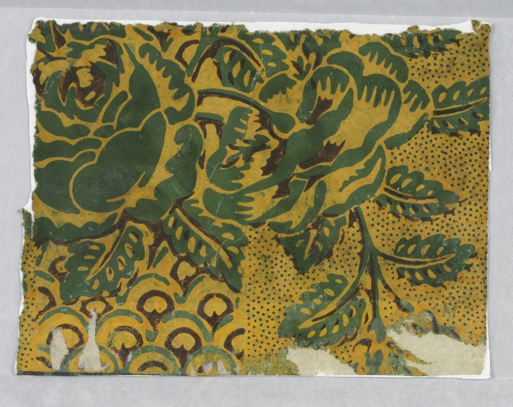 Imbricated column, roses and leaves, printed in green and brown in mustard yellow ground, piquote with brown.