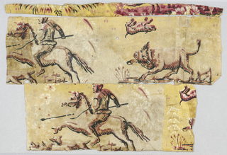 Man holding a spear on horseback, directly behind him a wild bull snorts and flips a small dog. Printed in shades of pink, white and black on yellow ground.