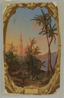 """Scene of domes, minarettes, palms, three robed figures and a camel, bathed in light of sunset, within vertically rectangular panel within which a brown and metallic gold frame outlines the scene enclosed in an oval. Frame includes title: """"Le Soir"""". This is one medallion from the set of """"Les quatres heures du jour""""."""