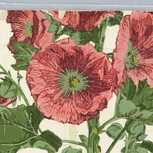 Full width giving less than one repeat of alternating vertical hollyhocks in full color and in greenish-cream. Printed in cream, reds and greens on glazed white paper.