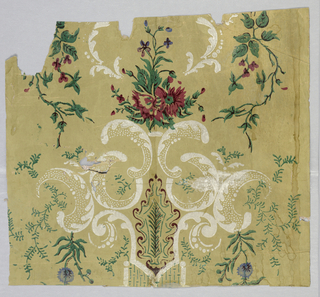 In thinly applied colors, white scroll work, deep pink flowers with maroon shading, green foliage with brown-black veining, blue flowers on tan ground.