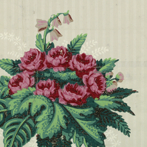 a) Different size floral bouquets with various types of flowers and leaves on a striped taupe background.  Circular motif on edge.  Shades of red, shades of green, taupe, and white. b) Bases of Corinthian-like style columns connect by stylized floral swags and fabric.  Shades of red, shades of green, taupe, and white.