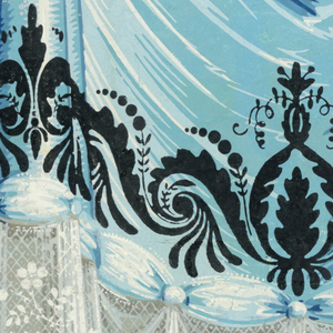 Gathered blue drapery with lace edging in white. Blue ribbon caught with medallions along bottom edge; was probably meant to be cut out to use as chair rail. Both motifs are ornamented with white pearls and black scroll and bead design.