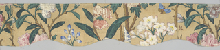Called Anglo-Chinese. Birds, butterflies and bees among various blossoms: magnolia, gardenia, chrysanthemum and pomegranate. The black outline is printed from a key block with metal raised design. Two thicknesses of paper. Top layer of rice paper on a layer of thicker paper. Each curtain made of three widths of paper. All flowers grow from the same curving and continuous vine. Printed in rose, orange, green, yellow, blue, mauve, tan and black on ivory ground. Entire paper embossed in small diamond pattern. (b) is the main body of the curtain.