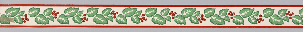 Green foliage with red berries on white ground with red banding at either edge.