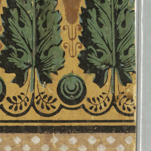 Vertical rectangle. Neutral yellow field. Across bottom, arcade of segmental arches of varying span, outlined in black and covered with intersecting diagonal lines, and separated by green pineapples. Across top, band of acanthus leaves, alternating with lotus blossoms in darker neutral yellow. Broad and narrow black bands across top.