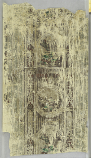 Vertical strip picturing details of Gothic architecture in grisaille, the center containing doorways with figures in green and brown alternating with circular medallions depicting a railroad station with a train and an underpass.