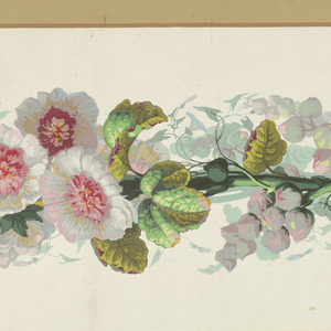 Central band of floral stripe growing off large vine. Band of tan along either edge. Printed on off-white ground.  H# 235