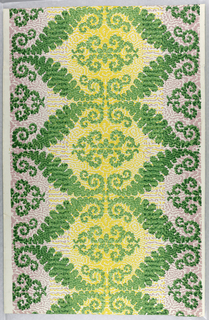 Printed in imitation of irisé, or rainbow paper. The design is based on a horizontal figure, roughly hexagonal outlined in green. Vertical panels are formed by the arrangement of these figures vertically, the centers of one column of hexagonals being yellow and the adjoining hexagonals having lavender centers. The design is rendered in wavy foliate outlines. Printed in yellow, lavender, green, light green and dark green on a white ground.