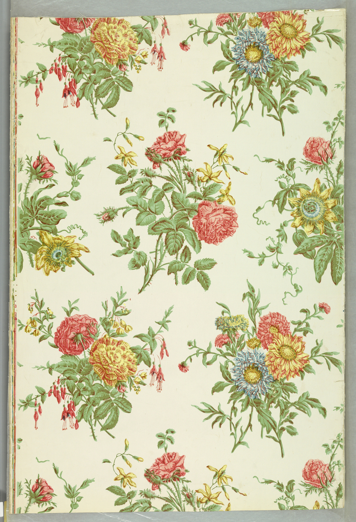 Full width giving nearly three repeats of drop-repeating design composed of four bouquets of flowers. Printed in colors on glazed paper ground.