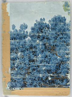 """a) The upper portions of thickly set trees are seen. Leaves are printed in blue and black. Branches are brown. Pale blue sky above; b) Border containing grisaille palmette and floral motif alternating with bud form against yellow flock field; c) Fragment of end piece of a scenic, bears inscription """"24"""". Found on back of """"b""""."""