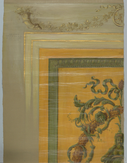 "Upper left quarter of a sample of wall decoration; center area orange, with a woman and scrolls in green and a wreath in brown. Unfinished egg and dart framing and gold lines. Stamped twice: ""Please return to Hamilton Bell and Co., 18 East 41 Street New York""."