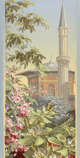 Panel No. 18 depicting large flowers, foliage, Asian/mosque inspired building and mineret and sky.  Same image as 1975-77-14.