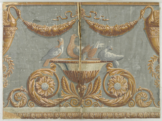 Central area features urn with four doves sitting on it, underneath floral swags supported by swans, under urn are acanthus rinceau, acanthus banding runs along bottom edge. Printed in yellows and browns on a deep gray ground.