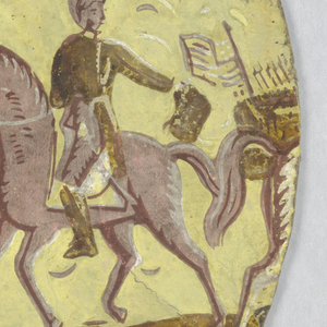 """A military scene is portrayed. A regiment of marching soldiers with officers mounted on horses. One officer on a rearing horse has a Napoleonic shaped hat. Another officer on horseback holds a shako in his hand. A canon carriage is on the field. One regiment has a flag that apparently is that of the young U.S. The drop edge is yellow and the scene is in shades of brown, off-white. """"Surrender of Cornwallis"""" is the title."""