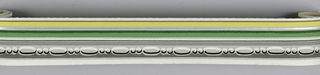 Bead-and-reel in grays over bands of green/silver/yellow on gray ground. Matching ready-pasted border.