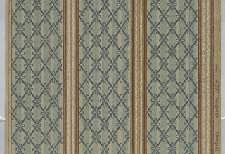 Stripe pattern, consisting of tnree narrow stripes of a woodgrain pattern, alternating with wider stripes with a diamond trellis fill.