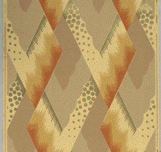Geometric design containing overlapping rectangular shapes, alternately pointing to the left, then to the right every second row. Motif appearing like a flame stitch at the top of each rectangle, with inset box scalloped along one edge. Pebbling to the side of this inset box. Printed in warm tones on a paper embossed with a leather texture.