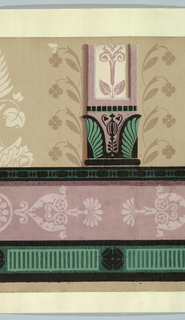 Base of column or pilaster with green anthemia at bottom, stylized floral motifs suspend out from this. Below this, a white silhouette of foliate motifs on mauve, with dentilled or green-striped rectangles below.