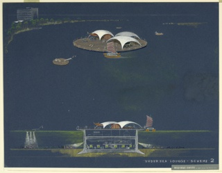 Drawing, Design for Undersea Lounge: Scheme 2