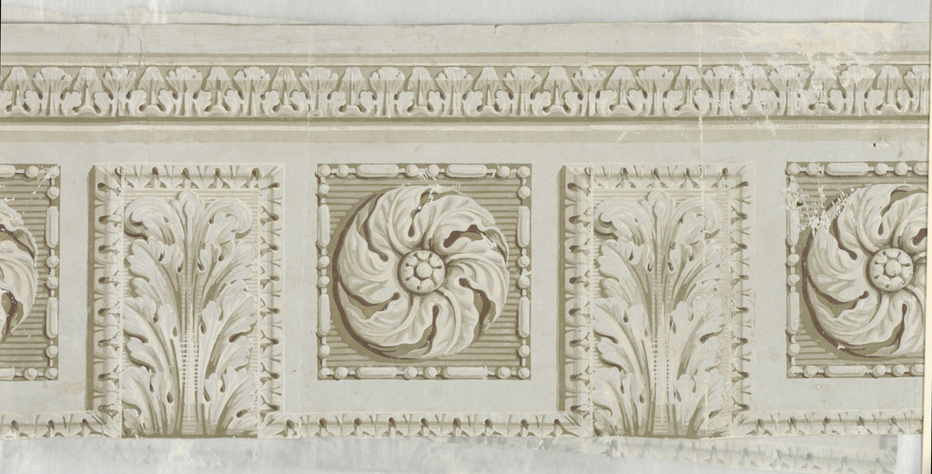 "Soffitt or architectural design with coffers enclosing rosettes alternating with acanthus modillions. Probably meant to be seen from below but back of paper, ""b"" has traces of underlying sidewall paper. Fragment ""c"" is portion of this latter paper. Shows arabesque design with flowers. Printed on gray ground."