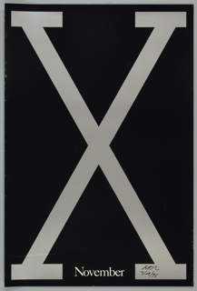 """Poster for Spike Lee film, """"Malcolm X."""" Features a large grey X on a black background with """"November"""" in small white letters at bottom. Includes a thin grey border."""
