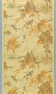 """Pastoral scene composed of trees and foliage in drop repeat. Simulates mural painting. The embossed ground resembles rough plaster and is flecked with burnt umber and rubbed with finely powdered mica. Printed in selvedge: """"Made in U.S.A., Union Made, United W.P. Fac."""" """"Sun Tested produced under Fleck Pat 1955626."""""""