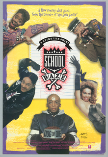 "Poster for the Spike Lee film, ""School Daze."" Four men and one woman are positioned around a piece of lined paper. At lower center, Spike Lee appears as a bald man with glasses and a dog collar, with the letter G on his forehead and a dog dish in his hands. Printed in white, on black banner, upper center: A SPIKE LEE JOINT; in white, directly below, on top of a black crown: SCHOOL; in black, directly below, on top of two crossed white bones: DAZE. Includes a purple border and the following text in purple, upper center: a nEW comEdy WitH Music / froM the DiRector oF ""SHe's Gotta HAVE it"". The film credits are listed in pink at the bottom of the poster. The rating information (R) and the Dolby Stereo logo appear on the bottom left, and the Columbia Pictures logo appears on the bottom right."