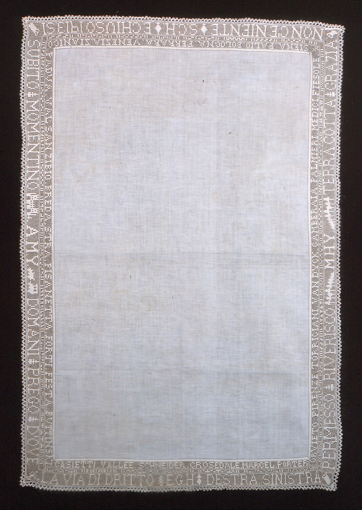 Linen center; lace border with the initials EGH, MHY, SCH, and AMY, and Italian place names worked in crocheted lace; edging of bobbin lace. This lace was crocheted and the tablecloth made by Miss Eleanor Hewitt after an Italian trip made by herself and her sisters with Mrs. A. Murray Young. The initials of the travellers are worked in the lace.