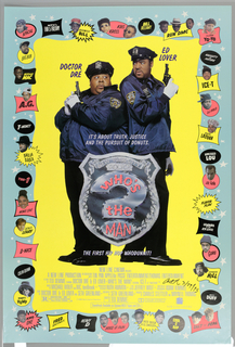 Poster for Spike Lee film Who's the Man. Two police offers holding guns viewed against a yellow ground.  Imposed on them is a large badge. Around the perimeter are small portraits and names of musicians.