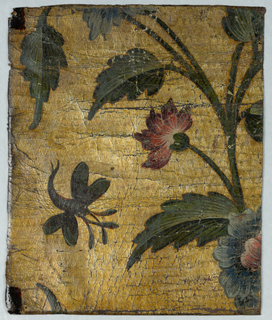 Red flower and one flying insect, possibly dragon fly. Textured, gilt background.