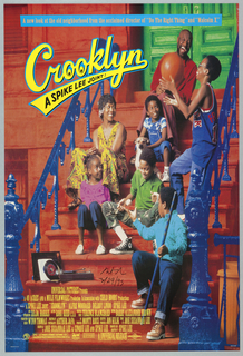 "Poster for the Spike Lee film, ""Crooklyn."" A man and women sit on a stoop in front of a green door with a dog and five children, the eldest of whom holds a basketball. They sit on stair steps between blue handrails. A record player is positioned towards the bottom of the staircase. Printed in orange text, inside a blue rectangle, upper margin: A new look at the old neighborhood from the acclaimed director of ""Do the Right Thing"" and ""Malcolm X."" Printed in yellow, with a blue border, upper left: Crooklyn / A Spike Lee Joint. The film credits are listed in yellow at the bottom of the poster. The logo for Forty Acres and a Mule Filmworks and DTS (the digital experience) appear on the bottom left, and the Universal logo appears on the bottom right."
