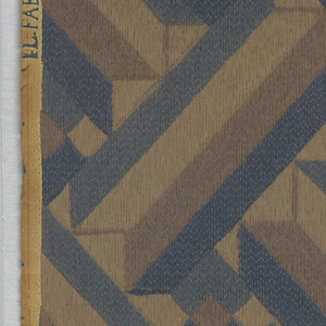 Basket-weave pattern with the structural element running on the diagonal creating somewhat of a tromp l'oeil design. Printed in shades of tan and blue-green on tan ground.