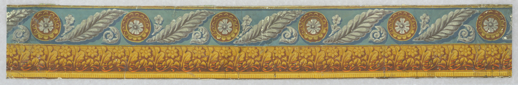 Border is divided into two distinct pattern bands. The upper band consists of a feather-like leaf, flanked by a conventional flower and acanthus curl, alternating with a rosette-centered medallion. The lower band is an architectural row of leaves and flowers edged in dentilling. Printed in four shades of gray, white, turquoise, dark blue, gold, ocher, rosse, brown and orange.