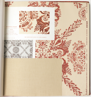 "Horizontal rectangle. Hard cover bound with glossy red paper with stencil pattern No. 130 ""Enoch Frye"". Printed title, emblem, manufacturer's name and ""Related Fabrics and Wallpaper: Plastic coated papers""."