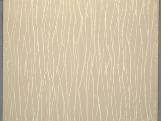Striated pattern of irregular vertical lines. Printed in white on tan ground.