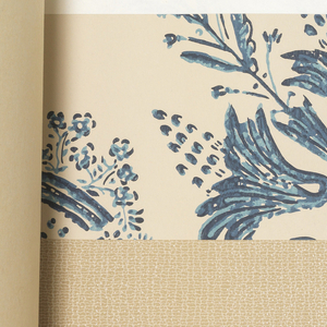 """Horizontal rectangle. Hard cover bound with glossy red paper with stencil pattern No. 130 """"Enoch Frye"""". Printed title, emblem, manufacturer's name and """"Related Fabrics and Wallpaper: Plastic coated papers""""."""