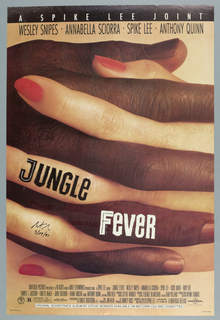 "Poster for the Spike Lee film, ""Jungle Fever."" Features a close-up view of a dark skinned male hand entwined with a light-skinned female hand with polished red nails. A black row with white text at the top reads ""A SPIKE LEE JOINT,"" with the primary cast members listed directly below in black: ""WESLEY SNIPES • ANNABELLA SCIORRA  • SPIKE LEE • ANTHONY QUINN."" Film credits listed in black at the bottom of the poster. The logo for Forty Acres and a Mule Filmworks, rating information (R), and the Spectral Recording/Dolby Studio logo appear on the bottom left. The Universal logo is seen on the bottom right."