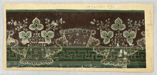 Imitation lace is superimposed at intervals over the fret at the bottom of the design. Above, sections of lace alternate with groups of three three-petaled flowers and foliage. Printed in gray, white, green and black on dark brown ground.  H# 445