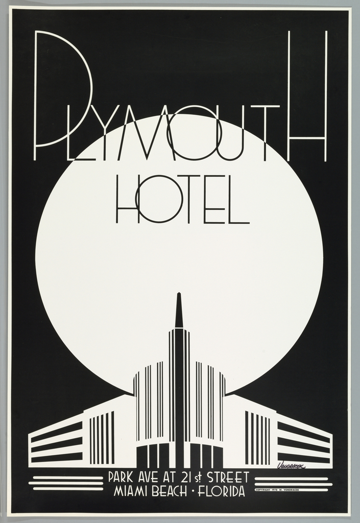 Vertical format poster with white print on black ground. At top, large thin overlapping letters in black and white spell the name of the Plymouth Hotel, slightly overlapping a large white circle at center, possibly representing the sun or moon. At bottom, depiction of the Plymouth Hotel in Miami, Florida: at center, a large tower and curving structure, with two symmetrical rectilinear structures on either side retreating into the distance. Below, hotel name and address in white text centered between two groups of three horizontal white lines.