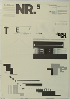 At upper left center in large black block leters, NR.5. Below, poster design incorporates the letters TEE [Trans Europe Express] in various tonal gradation formed by the linear division of the typographic fonts. At left the cover of the book is presented with a suggestion of mountains constructed with thin lines and the sun represented as a simple black dot (typography as landscape) and at upper right center Zurich is shown with short diagonal llines suggesting rain. The other stops of the railway line from Switzerland to Milan are, at lower left, Lugano; at lower right Como.  At upper left a text block describing the projects described above and at upper left the educational agenda from the School of Design, Basel that was the basis for the poster series.