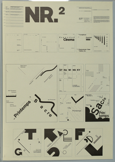 """Poster design featuring concepts for book covers, posters and record covers. At upper left center in large black block letters, NR2. Below, six square formats for the book cover for """"Expanded Cinema"""" ranging from very minimal at left to concepts using large black block letters to visually charge the space at right. The text used for this projects is """"Expanded Cinema by Gene Youngblood, with an Introduction by R. Buckminister Fuller. E.P. Dutton, Inc. $495. The second concept, for poster designs whichemploy the same formal typographic elements as above, is for Basel Casino Musikaal. BBC Symphony Orchestra, London, Leitung Pierre Boulez, Soloist / Clifford Curzon Prösertiert / Samstag 25.mai.1974 20.15 UHR  the third concept at the bottom portion of the sheet is record jacket designs for Le CHant du Monde. mono.U. LDX74439 Special Instrumental Guitare Americane par Roger Mason et Steve Waring, and also, Le Fiddle Irlande Ted Furey / At upper left a text block describing the projects described above and at upper left the educational agenda from the School of Design, Basel that was the basis for the poster series."""