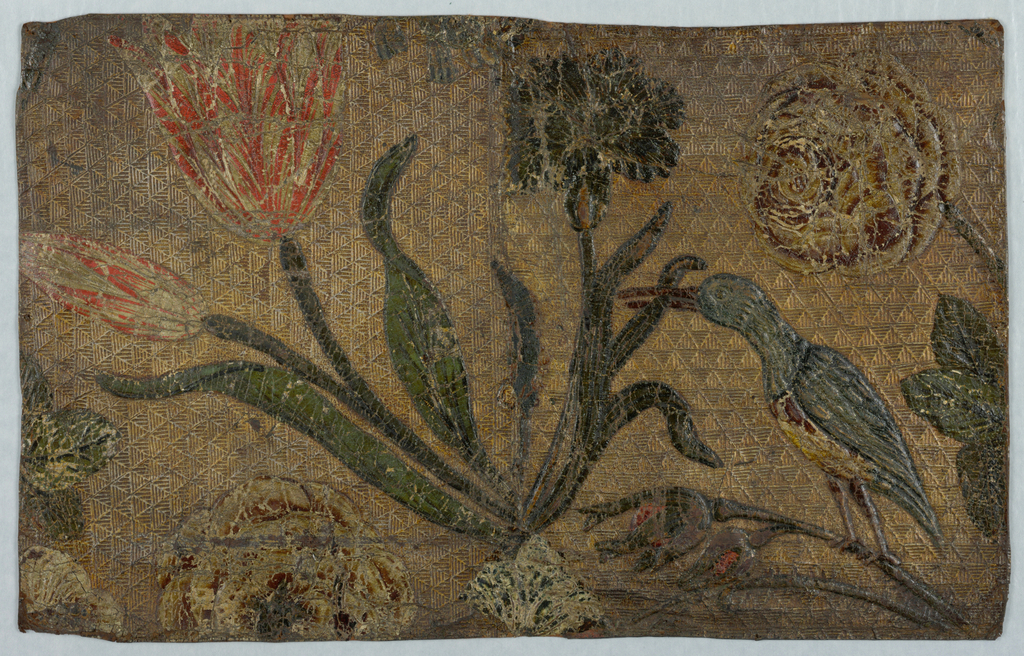Gilded field, diapered, tulips, carnation, roses, with a bird. Red, green, brown.