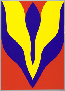 Screenprint, Red yellow blue abstract, 1969