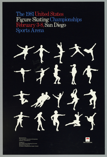 On a black ground, white silhouetted figures in different skating poses.