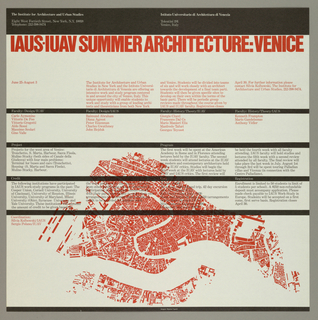 Poster, IAUS-IUAV Summer Architecture: Venice, ca. 1980