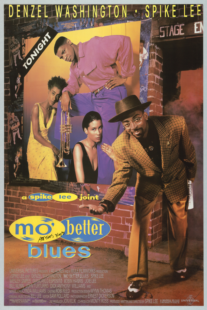 """Poster for the Spike Lee film, """"Mo' Better Blues."""" On the right, Spike Lee appears in front of a stage entrance, wearing a brown hat, glasses, brown pants, and brown houndstooth jacket. He looks at the viewer while bending and offering his right hand. His left hand holds a rolled up edition of the New York Post. Behind him, a brick wall is seen with a poster of three musicians and a trumpet, with the word TONIGHT in white against a black background in the upper left corner. Posters for Spike Lee's film, """"Do the Right Thing"""" can be seen behind the musicians' poster. Printed in yellow, upper margin: DENZEL WASHINGTON • SPIKE LEE; in yellow and blue, bottom left: a spike lee joint / mo' better / blues. The words """"spike"""" and """"better"""" appear inside blue circles, while """"lee"""" and """"mo'"""" appear inside yellow circles. The film credits are listed in light grey at the bottom of the poster. The Spectral Recording/Dolby Studio logo appears on the bottom left, and the Universal logo appears on the bottom right."""